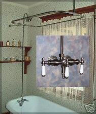 NICKEL classic claw foot tub faucet & shower system