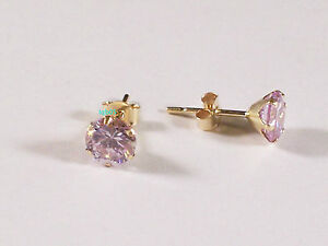 New Boxed Ladies 9ct Yellow Gold Lilac CZ  Studs Earrings 5mm Hallmarked