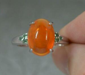 Large Natural Fire Opal Cabochon and Alexandrite 9ct White Gold Ring f0437