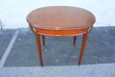 Lovely Antique French Louis Xv Solid Walnut Center Side End Oval Table, 19th C.