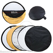 """24"""" 60cm 5 in 1 Photography Photo Light Mulit Collapsible Disc Reflector Handle"""