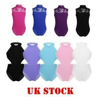 UK Girls Ballet Dance Lace Leotards Gymnastics Cutouts Bodysuit Yoga Dancewear