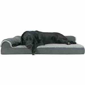 Furhaven Pet Dog Bed Deluxe Orthopedic Two-Tone Plush Faux Fur & Suede L Shape