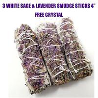 "3X White Sage & Purple ""Royal"" Lavender Flower Smudge Stick 4"" FREE Crystal"