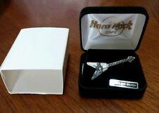 NIB Hard Rock Cafe Guitar Orlando Pure Solid .925 Sterling Silver Pin Brooche