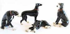 Miniature Ceramic Hand Painted Dog Figurine - Set/4 Greyhounds - Black & White