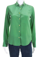 Etro Womens Long Sleeve Button Down Collared Blouse Top Green Silk Size EUR 40