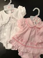 Baby Dress Small Tiny Premature Newborn White Pink Knickers & Hat 3-5lbs 5-8lbs