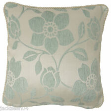 "CHENILLE DUCK EGG BLUE THICK FLORAL LEAF LEAVES CUSHION COVER 18"" - 45CM #ECEC"