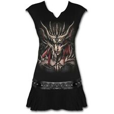Spiral Direct DRAGON MASK Stud Waist Mini Dress Tunic, Goth, Rock, Biker, Tattoo