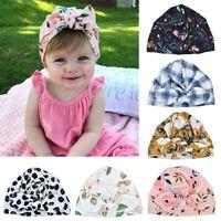 Baby Kids Big Bow Tie Flowers Print Head Wrap Turban Knot Headband Girls Newborn