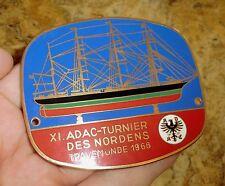 PLAKETTE 11 ADAC-Turnier des Nordens Travemünde 1966 Segelschiff PLACCA BADGE A5