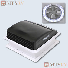 Maxxair Mini Vent Deluxe 12V Powered Fan Vent with LED Light in BLACK - 00-03851