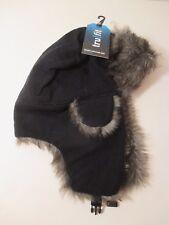 Mens Adult TRUFIT Black Winter Warm Faux Fur Ear Flap Bomber Trapper Aviator Hat