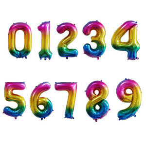"40"" Self Inflating Birthday Wedding Rainbow Foil Number Helium Air Balloon"