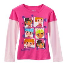 Lalaloopsy PINK L/S TEE SHIRT ~ Mock-Layer 2-fer Top **Purple Glitter** 4T New