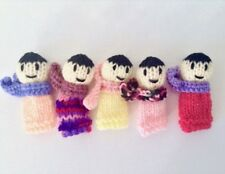 Handmade in Melbourne Set of 5 Knitted Finger Puppet People Learning Great Gift!
