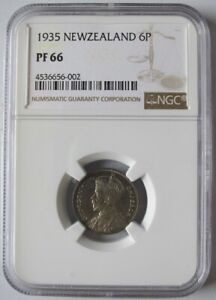 New Zealand 1935 Proof Six Pence, NGC PF66, Mintage 364, Only 3 Graded Higher