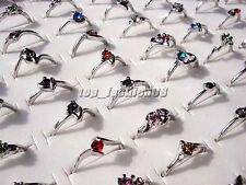 Wholesale Lots Mixed 10pcs Colorful Rhinestone Silver Tone Women/Girl's Rings