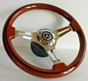 Steering Wheel fits Mercedes Benz Wood Chrome W123 W124 W126 W201 R107 1979-1992