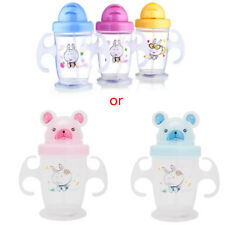 Cute Durable Children Baby Straw Cup Drink Bottles Sippy Cups Handles 200ML New