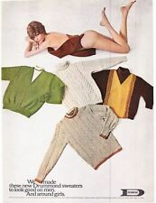 Original Print Ad-1968 DRUMMOND SWEATERS-Sexy Nude Girl Covered with Sweaters