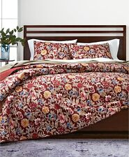 Martha Stewart Twin Quilt Climbing Blossoms Cotton Floral Reversible Red A9Z267