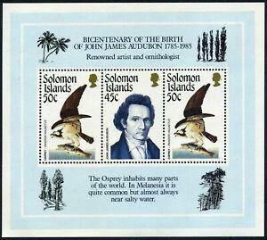Solomon Isls 556 ac sheet,MNH.Michel Bl.18. John James Audubon 1985.Bird:Osprey.