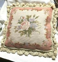 "16"" x 16"" Handmade Wool Needlepoint Floral Rose Pink Cushion Cover Pillow Case"