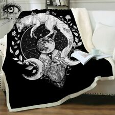 Moon Child By Pixie Cold Art Bed Blankets Wolf Galaxy Plush Bedspread