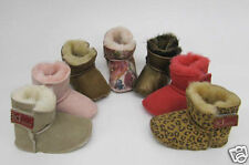 Baby Boys Girls Sheepskin Slippers boots Lia Couture pram shoes BEIGE RED
