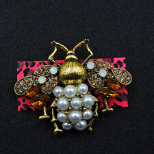 Bee Charm Woman Brooch Pin Betsey Johnson Orange/Gold Rhinestone Cute Pearl