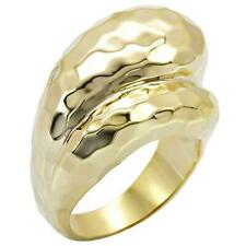Ladies gold ring hammered band 18kt yellow steel no stone sale price new 036