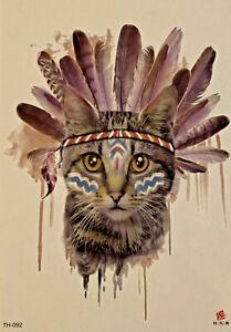Temporary Tattoo Animal Cat African Tribe Body Art Fake Waterproof
