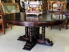 """Antique Style Country French Barley Twist 66"""" Round Solid Hardwood Dining Table"""