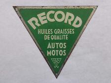 Ancienne tôle publicitaire Huile & Graisse autos et motos RECORD - déco garage