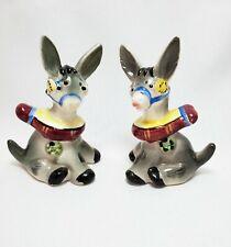 Japan 2 pairs Vintage cute hand painted burro carrying bundles and sacks salt and pepper shakers