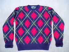 Vintage Polo Ralph By Lauren Men's Hand Knit Argyle Crewneck Sweater Size Medium