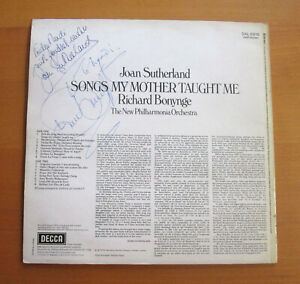 SXL 6619 Joan Sutherland SIGNED AUTOGRAPHED Songs My Mother Taught Me Decca LP