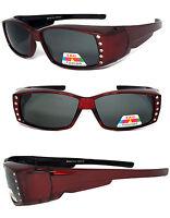 Women Rhinestone POLARIZED Anti Glare Rectangular Lens Fit Over Sunglasses Red