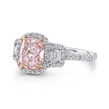 Certified 2.70CT Cushion Light Pink Diamond Three Stone Wedding Ring In 14K Gold