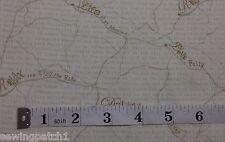 Happy Camper Fabric road maps & words fat quarters 100% cotton 3124-44 cream
