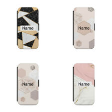 Flip wallet phone case Personalised name initial Marble Glitter Sparkles L44