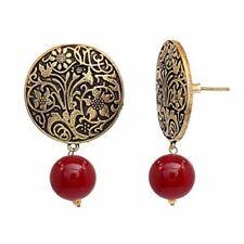 Carnelian Gold Plated Handmade Art Work Coin Style Stud Earrings