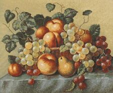 WALL JACQ. WOVEN TAPESTRY Still Life with Peaches & Grapes EUROPEAN DINING DECOR