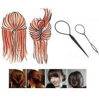 KQ_ HB- 2Pcs Hair French Braid Topsy Tail Clip Magic Styling Stick DIY Bun Maker
