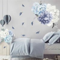 Blue Peony Rose Flowers Wall Art Sticker Decals Kid Room Nursery Home Decor Gift