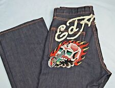 NEW Mens ED HARDY Christian Audigier Graphic Button Fly Jeans SIZE 36x34