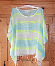Fresh Produce Blue/Neon Striped Caftan Top/Blouse, Cotton/Acrylic, Sz M/L, EUC