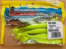 """Bass Assassin SSA25261 4/"""" Sea Shad 10 PK ouverture Nite Lime Glow Tail 15016"""